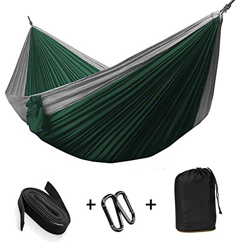 Valleycomfy Hammock Portable Swing Parachute Cloth Nylon Fabric For Camping/Hiking/Travel/Picnic (Gray-inkgreen, 300*200cm(3 person))