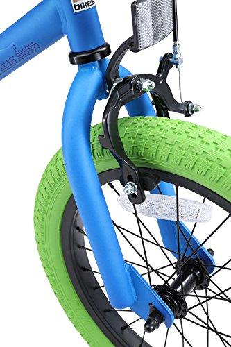 BIKESTAR Bicicletta Bambini 4-5 Anni da 16 Pollici ★ Bici per Bambino et Bambina BMX con Freno a retropedale et Freno a Mano ★ Blu & Verde - 8