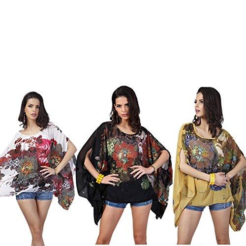 Occitop Fashion Women Chiffon Batwing Sleeve Print Loose Irregular Casual Blouse