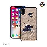 Case Creatives Fußabdrücke im Sand   Handgefertigt   iPhone X   Schwarze Hülle   Extra Grip + Stoßfest