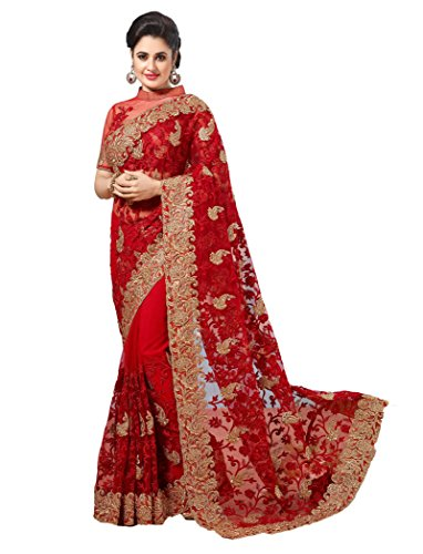SareeShop Red Net Embroidered Saree With Blouse-591F963A1462455E