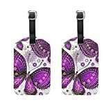 COOSUN Purple Violet Butterfly Luggage Tags Travel Labels Tag Name Card Holder for Baggage Suitcase Bag Backpacks, 2 PCS