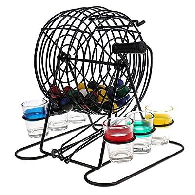 Sharplace Nouveauté Jeu de Boire Machine de Loterie Bingo-test + 6 pcs Verres + 48 pcs Boules Egayer l'Atmosphère pour Fêtes, Soirées, Bar , Jeu de Table *