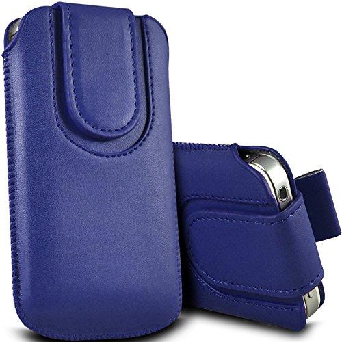 Brun/Brown - Nokia Lumia 630 Housse et étui de protection en cuir PU de qualité supérieure à cordon avec fermeture par bouton magnétique et stylet tactile pour par Gadget Giant® Bleu/Blue