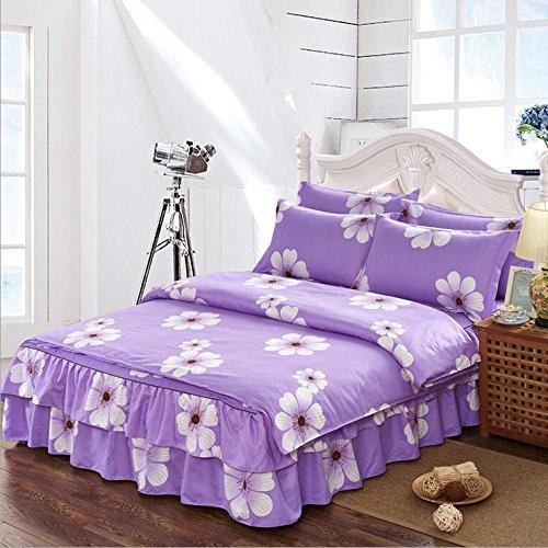 Koreanische Version der Bettwäsche vier Sätze von Prinzessin Dicke weiße Blätter Bedspread Bed Rock Brautkleid , 1 , 2m (Baby-bettwäsche-blatt-satz)