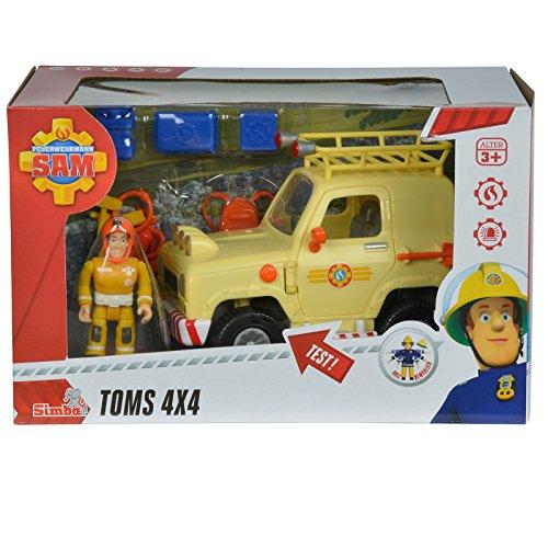 feuerwehrmann sam gelaendewagen Unbekannt Sam Tom's 4x4 Geländewagen mit Licht und 1 Figur • Feuerwehrmann Auto Figuren Spielzeug Wagen Feuerwehr Spiel