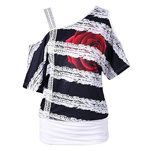 Zylione Tops Damen Sommer Retro Kurzarm Casual One-Shoulder Short-Sleeve Mesh Oberteile Blumen Gestreifte Blusen Einfarbig T-Shirt Batwing Tunika -