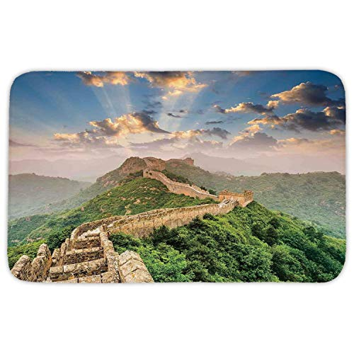 WYICPLO Rectangular Area Rug Mat Rug,Great Wall of China,Oriental Medieval Blockade on High Lands Old Wonders The Past Picture,Blue Green,Home Decor Mat with Non Slip Backing,23.6 X 15.7 Inch