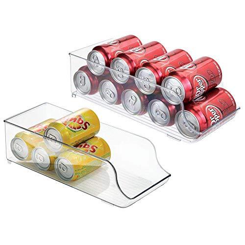 mDesign Juego de 2 Cajas de almacenaje para Nevera y congelador - Envases de plástico para Alimentos - Prácticos contenedores de plástico para 9 latas - Transparente