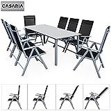 Casaria Salon de Jardin Aluminium Argent »Bern« 1 Table 8 chaises Pliantes Plateau de Table en Verre dépoli Dossier réglable 7 Positions