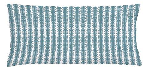 Ambesonne Grau Blau Werfen Kissenbezug, Skizze Stil Beispiel Streifen mit Oval Formen Hand Ziehen, Zusammensetzung, dekorative quadratisch Accent Kissen Fall, 91,4x 40,6cm, bluegrey weiß (Stoffe Stühle Maßgeschneiderte)