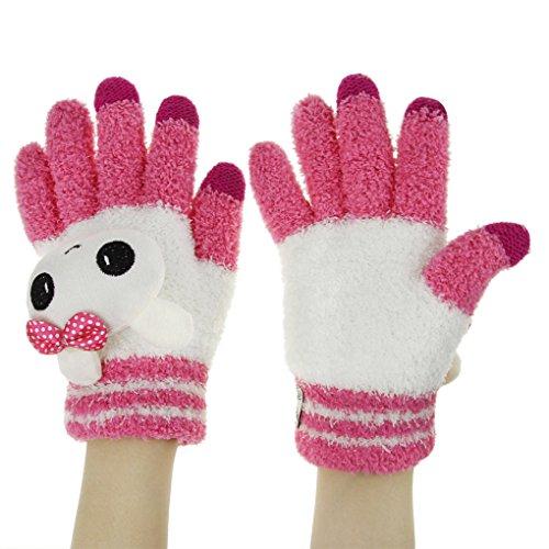 Mädchen Cartoon Gestrickte Handschuhe mit Touchscreen Funktion Winter Warm Gloves für Smartphone Tablet