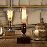 YUENSLIGHTING E27 Vintage Wood Blocks Table Lamp Desk Light for Cafe Bar Studio Night Light for Bedside Dimmable without Bulb