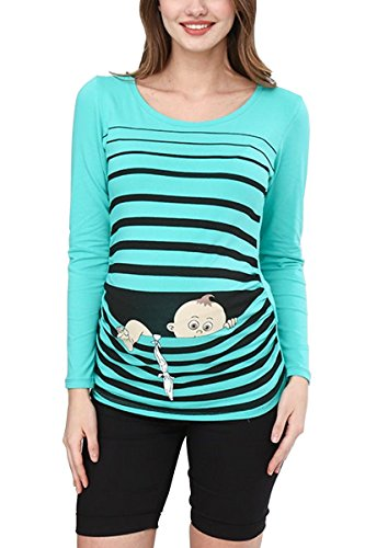 Baby Flucht - Lustige witzige süße Umstandsmode / Umstandsshirt mit Motiv für die Schwangerschaft / Schwangerschaftsshirt, Langarm (Mint, Medium)