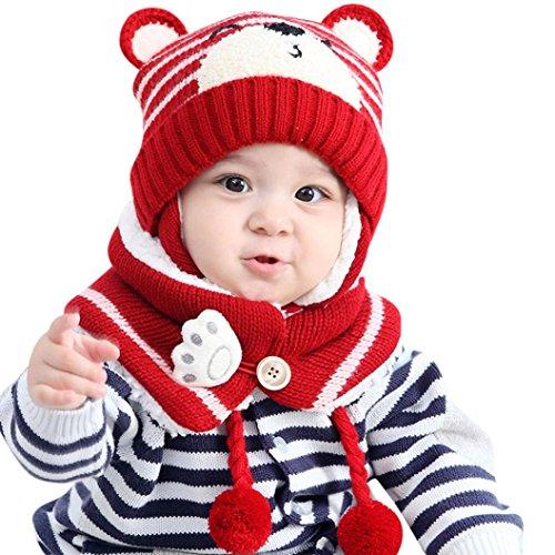 Mütze Schal Set Baby Kinder Winterschal Warme Wintermütze Hut Mädchen Ballonmütze Mützen Hüte Strickmütze Schlupfmütze Junge Mädchen Hüte Mützen Kleinkinder Kapuze Schal Mützen Hüte LMMVP (Rot)