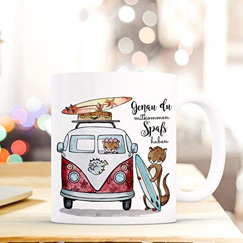 ilka parey wandtattoo-welt® Tasse Becher Kaffeetasse Kaffeebecher Surfbus mit Otter Fischotter Seeotter und Spruch mitkommen Spaß haben ts455