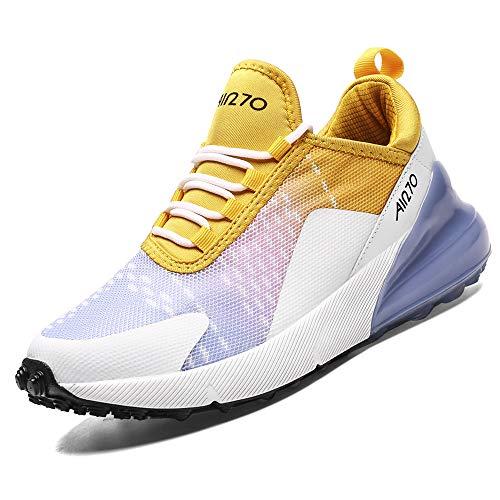 Laufschuhe Damen Frauen Turnschuhe Sportschuhe Straßenlaufschuhe Sneaker Atmungsaktiv Trainer für Running Fitness Gym Outdoor(Violett Gelb/270XC,40 EU)
