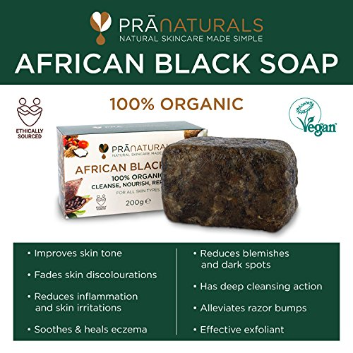 PraNaturals Jabón Negro Africano 200g  Orgánico y Vegano para Todo Tipo de Pieles  de Origen y Artesanal en Ghana Tropical  Tratamiento Natural Desintoxicante y Antienvejecimiento para Cuerpo y Cara