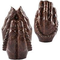 Shanxing Coppia Statua di legno naturale intagliato a mano ornamenti figurine scultura decorazione per la casa, Legno, Buddha Hands