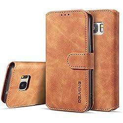 UEEBAI Handyhülle für Samsung Galaxy S7, Hülle Retro Premium PU Leder Weich TPU Klapphülle [Magnetverschluss] Kartenfach Standfunktion Anti Kratzern Flip Wallet Trageband Schutzhülle - Braun