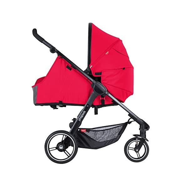 """Phil&teds Smart Buggy Pushchair, Cherry phil&teds Foot fold - intuitive, compact, one-piece standing foot fold - a world's first of its kind - is only 23"""" wide, making it perfect for tight city spaces Smooth ride tires - super-smooth, hassle-free riding with 10"""" rear puncture-proof, aerotech wheels and suspension on all four wheels; convenient hand-operated parking brake offers easy braking control at your fingertips Lightweight - stroller weighs 23.5 lbs. and includes a main, full-size seat that holds up to 44 lbs., an extendable leg and a sun hood with zip-out extension and silent peek-a-boo flap 5"""