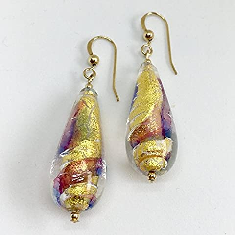 Diana Ingram ruby, periwinkle blue and gold foil Murano glass long pear (30x11mm) drop earrings on silver or gold.
