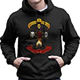 Skulls N Badass Apitite For Mayhem Guns N Roses Logo Men's Hooded Sweatshirt