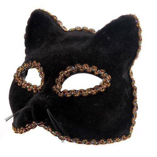 The Rubber Plantation TM 619219292528Black Panther venezianischen Masquerade Halloween Gatto Feline Cat Fancy Maskenball Party Kleid Ball Kostüm Zubehör, Unisex, ONE SIZE
