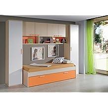 Dormitorio juvenil completo color arce y naranja: cama nido 90x190cm + 2 armarios altos + estantería puente 4 puertas + 2 estantes de pared
