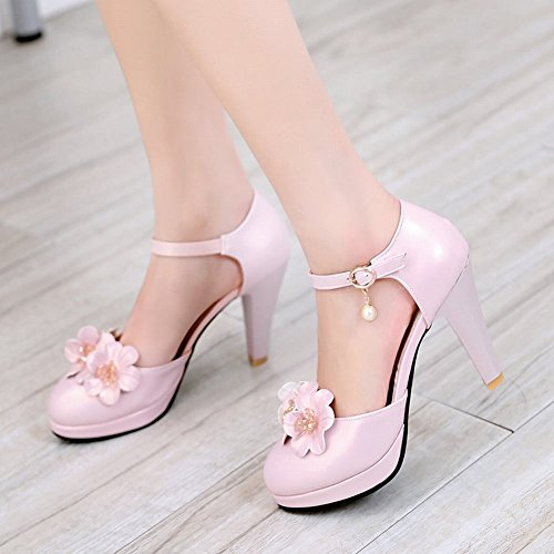 Mee Shoes Damen ankle strap Schnalle Blümchen Pumps Pink