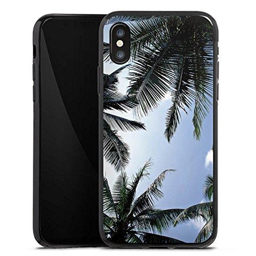 Apple iPhone X Silikon Hülle Case Schutzhülle Palmen Himmel Natur Silikon Case schwarz