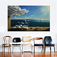 tzxdbh Canvas Print Art Poster Decor The Waves Book Sailboat Picture Canvas painting Diary of Discovery by Vladimir Kush
