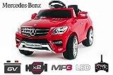 Lizenz Kinderauto Mercedes ML350 Jeep 6V 1x25W Motor RC Elektroauto Kinderfahrzeug Ferngesteuert Elektro (Rot)