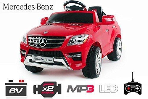 Lizenz Kinderauto Mercedes ML350 Jeep 6V 2x25W Motor RC Elektroauto Kinderfahrzeug Ferngesteuert Elektro (Weiss)