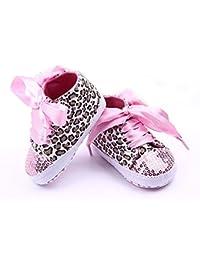 Zapatos de ninos suaves - SODIAL(R) nuevas zapatillas infantiles de deporte de lentejuelas de suave suela de leopardo para bebe de 3-6 meses 11cm rosado