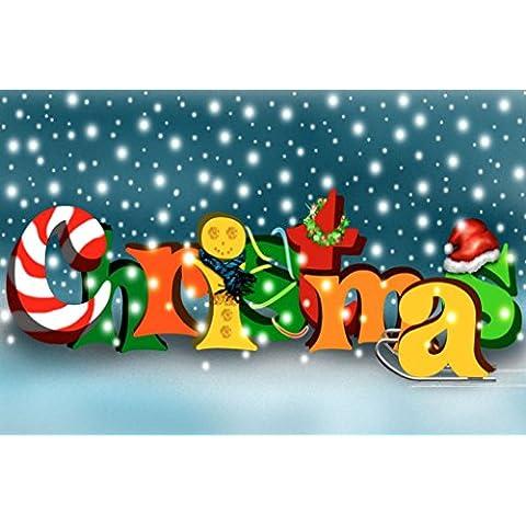 Feliz Navidad 2 de hierro en T-transferencia de la Navidad de suéter de arte Animal sudadera con capucha y diseño de moda camiseta de la parte superior de botín Dope luz de impresión creativa de encargo A6 (13 x 9cm) blanco