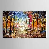 Gbwzz Große Größe 100% Handgemalte Schwere Textur Landschaft Wald Abstrakte Leinwand Öl Moderne Gemälde Für Wohnzimmer Schlafzimmer Dekor,70cmx150cm