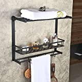 Hiendure® Solid Brass Wall Mounted Metro 2-tier Wall Mounting Rack with Towel Bars and Hooks