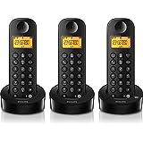 Philips D1153B/FR Téléphone fixe sans fil Trio 3 combinés avec répondeur Noir