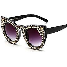 2e5fb161c74 Maybesky Cute Crystal Cat Eyes Occhiali da Sole per Le Donne personalità  Black Frame UV Protection