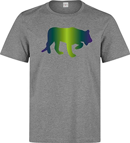 Tiger silhouette colorful dope Herren baumwolle t-shirt Grau