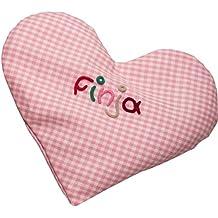 Wärmekissen Herz mit Namen - Rapssamen Kissen in verschiedenen Farben - 15cm x 17cm groß - Körnerkissen Baby, Körnerkissen Dinkelkissen, kleiner Geschenke, Baby Geschenke, Geschenke Geburt