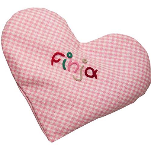 Mein Name Wärmekissen, Herz mit Name, 15x17cm, Rapssamen, Farbe: Rosa
