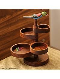 ExclusiveLane Bird Multi-utility Knick Knack Cum Jewellery Organizer Tray In Sheesham Wood - Jewelry Rack Tray...