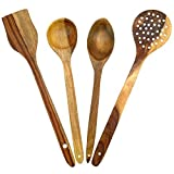 #9: Crafts A to Z Multipurpose Serving and Cooking Spoon Set for Non Stick Spoon for Cooking Baking kitchen tools Essentials Wooden Non Stick Spatulas , Ladles Mixing and turning ,Mixing and Turning Wooden Handmade Serving and Cooking Spoon Kitchen Utensil Set Of 4
