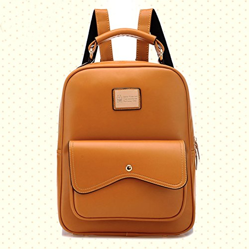 DELEY Damen Britische Style Tote Handtasche College Beutel Schulter Rucksack Braun