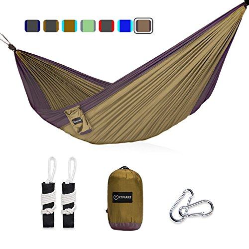 zomake double camping hammock   portable high strength hammock   lightweight blend color nylon fabric parachute zomake double camping hammock   portable high strength hammock      rh   oman desertcart