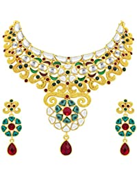 Sukkhi Ethnic Gold Plated Kundan Necklace Set For Women