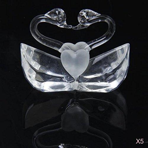 5pz Cristallo Segnaposto Amore Forma Di Cigno Di Nozze Titolare Della Carta Posto Favore Ricordo Ornamento