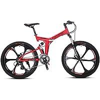 """Extrbici Vélo Tout Suspension 26"""" RD100 VTT Pliant avec Suspenion Complète & 24 Vitesses Vélo de Montagne Rose"""